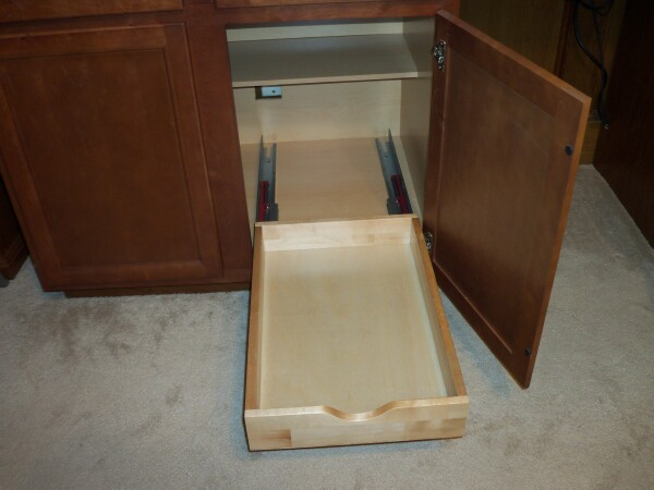 Slide Quik-Shelf forward to expose screw holes and install 4 screws