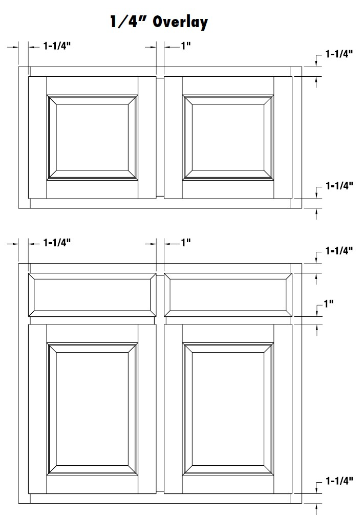1/4  Overlay Cabinet Door Diagram ...  sc 1 st  QuikDrawers & Cabinet Door Overlay Information : QuikDrawers #1 Cabinet and ...