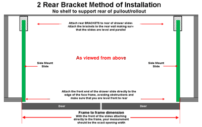 Use this diagram when mounting in a cabinet with no mid shelf