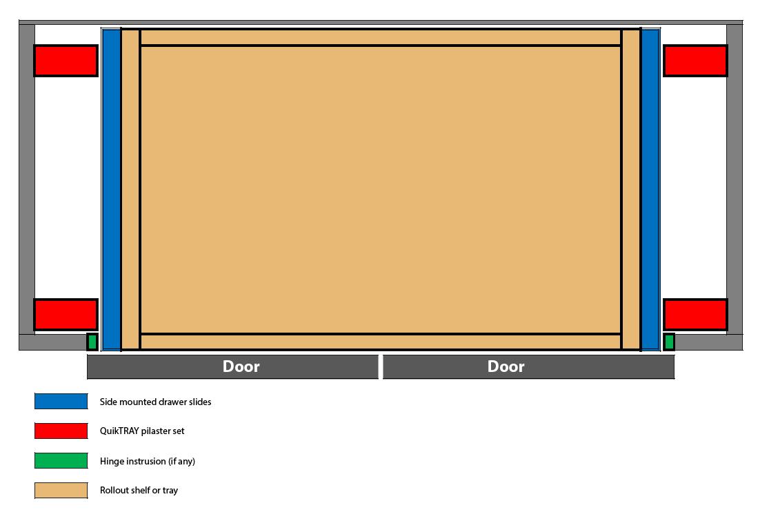 Double door cabinet with QuikTRAY