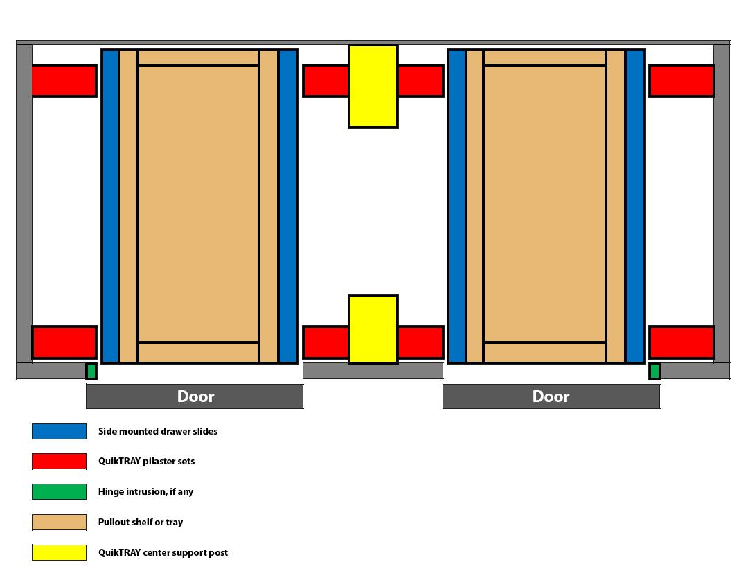 Double door divided cabinet with QuikTRAY