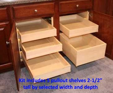 5 Pack of Birch Plywood Pullout Shelves