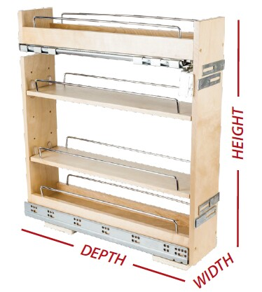 "14"" wide base cabinet pullout with premium soft-close slides."