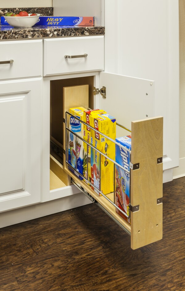 Base Cabinet Pullout with Built In Tray Divider
