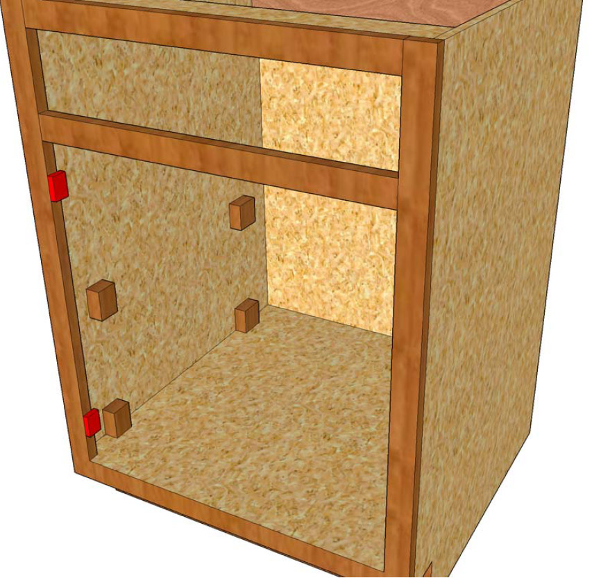 "Illustration for ""blocking"" or ""building out"" for drawer slides"
