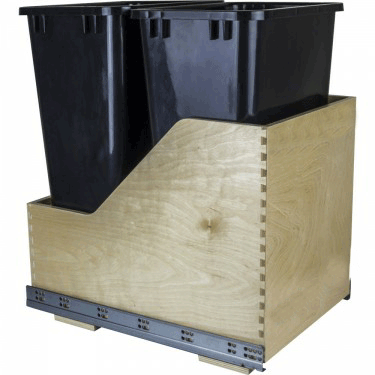 Double 50 qt black wood bottom mount pullout waste can