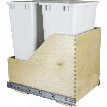 Double 50 qt white wood bottom mount pullout waste can