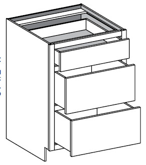 Typical 3 drawer bank with 2 equal height drawers