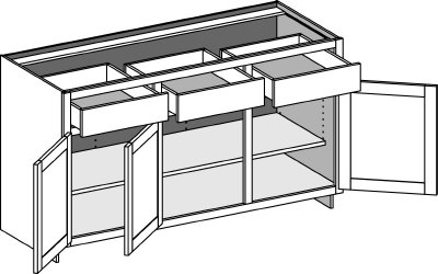 Typical 3 door and 3 drawer base cabinet
