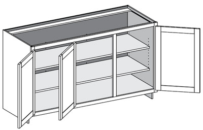 Typical 3 door and 3 drawer base cabinet w/full height doors
