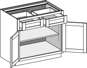 Typical Vanity Base Cabinet 2 drawer w/butt doors