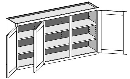 Typical Wall 2 opening cabinet w/butt doors