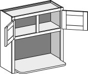 Typical Wall Microwave Cabinet with shelf and center stile