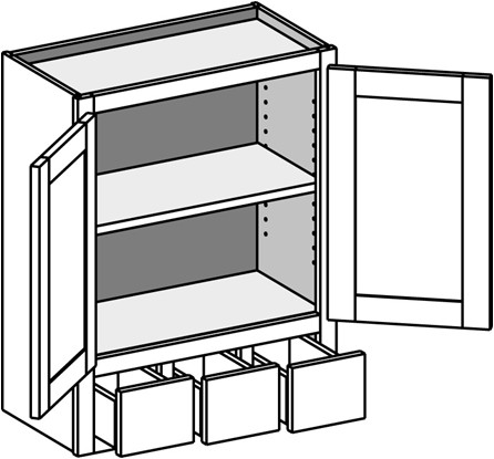 Typical Wall Cabinet w/3 drawers