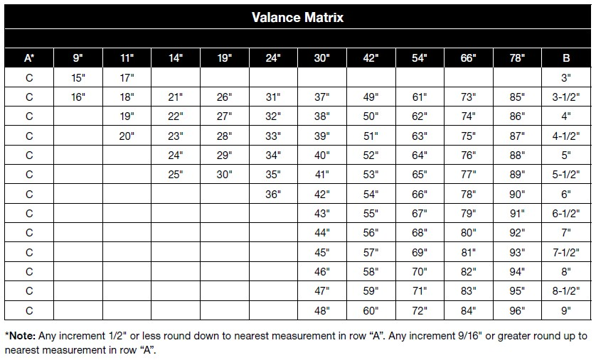 Valance Dimension Chart