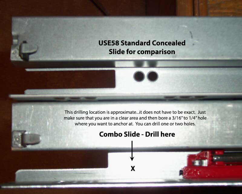 Rear end of concealed slides showing drilling locations