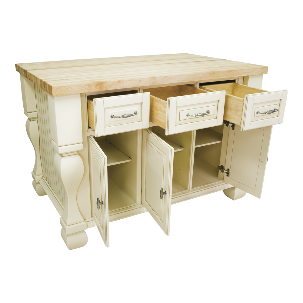 Tuscan Kitchen Island - Antique White