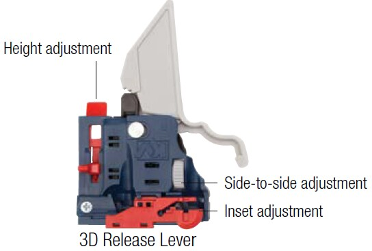 3 dimensional adjustment lever