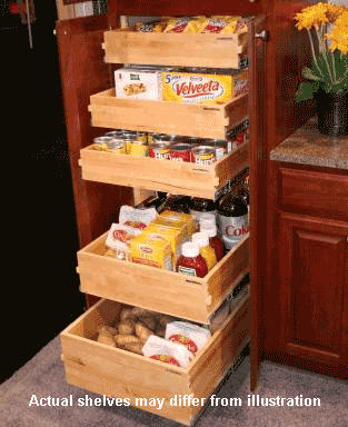 """Pantry Pack"" of Deluxe Full Extension Pullout Shelves"