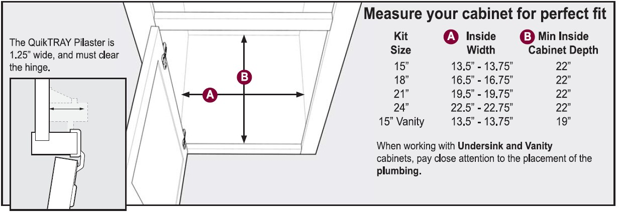 QuikTRAY Two Drawer Kit Sizing