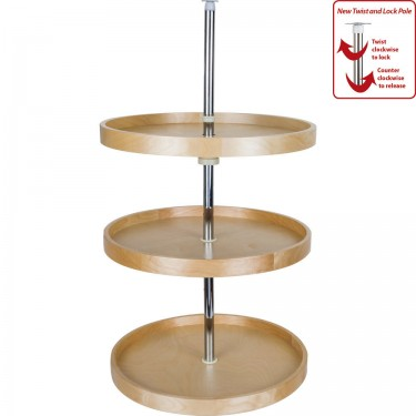 Complete 3 shelf round lazy susan in high quality wood