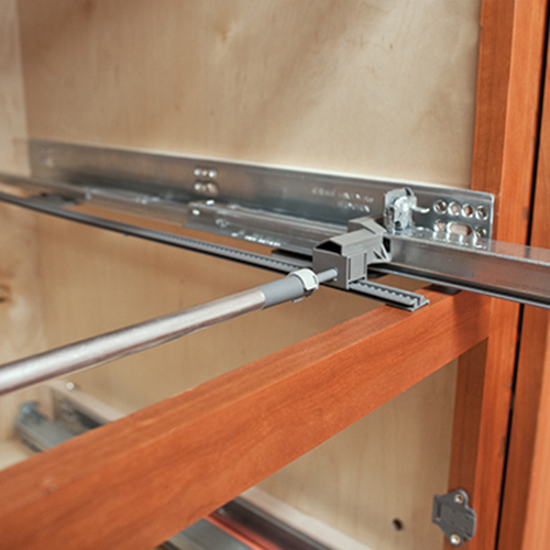 Blum lateral stabilizer for tandem drawer slides