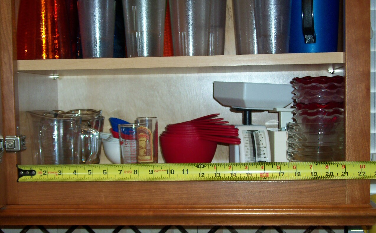 Measure width of the cabinet door opening