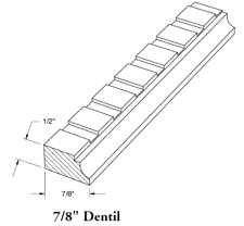 "7/8"" Dentil Insert for Decorative Crown Mouldings"