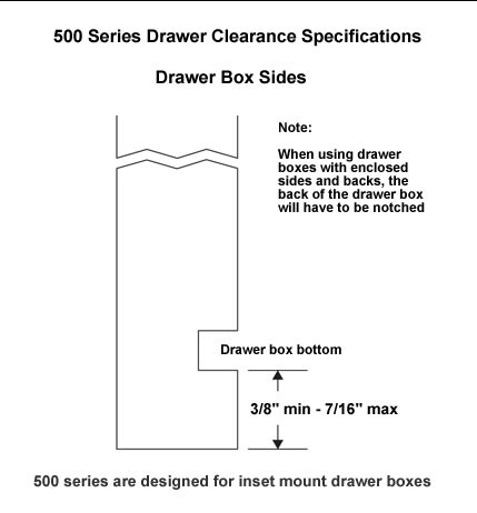 Drawer clearance specifications