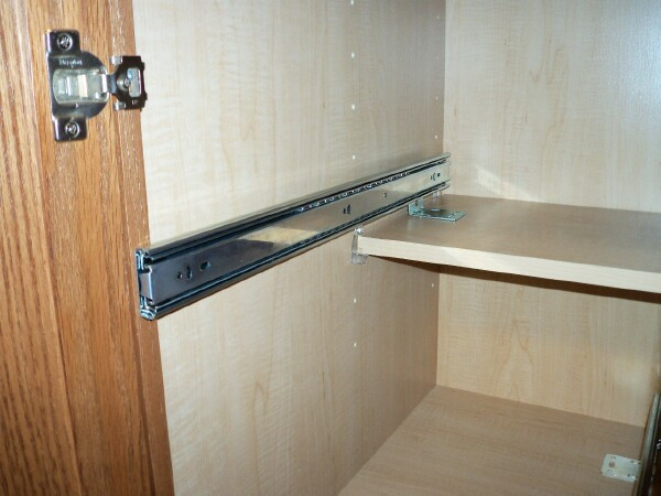 Properly placed drawer slide for pullout/rollout shef