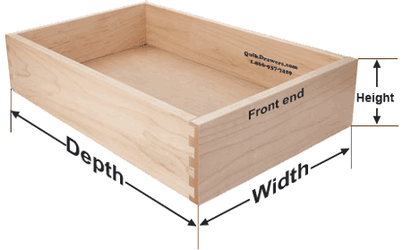 Drawer dimensions for drawer box replacements