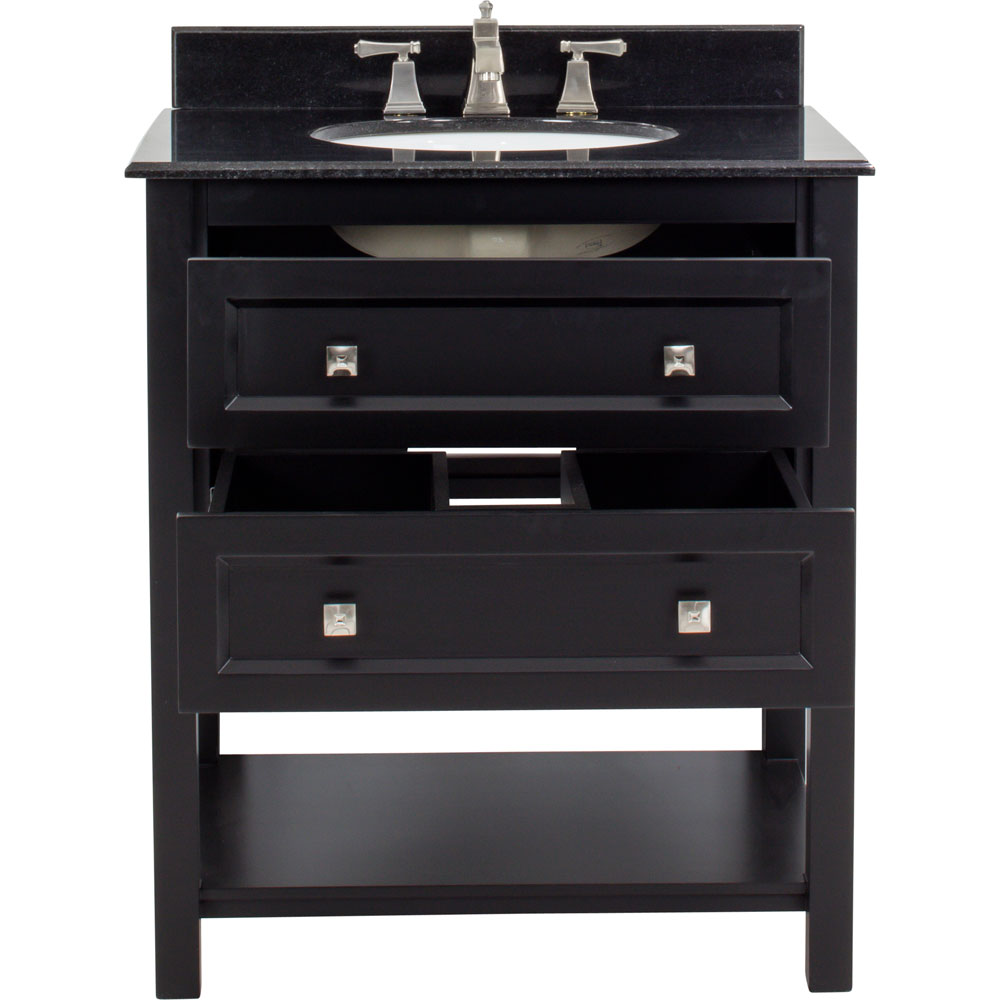 "31"" Adler vanity in Black with granite top"