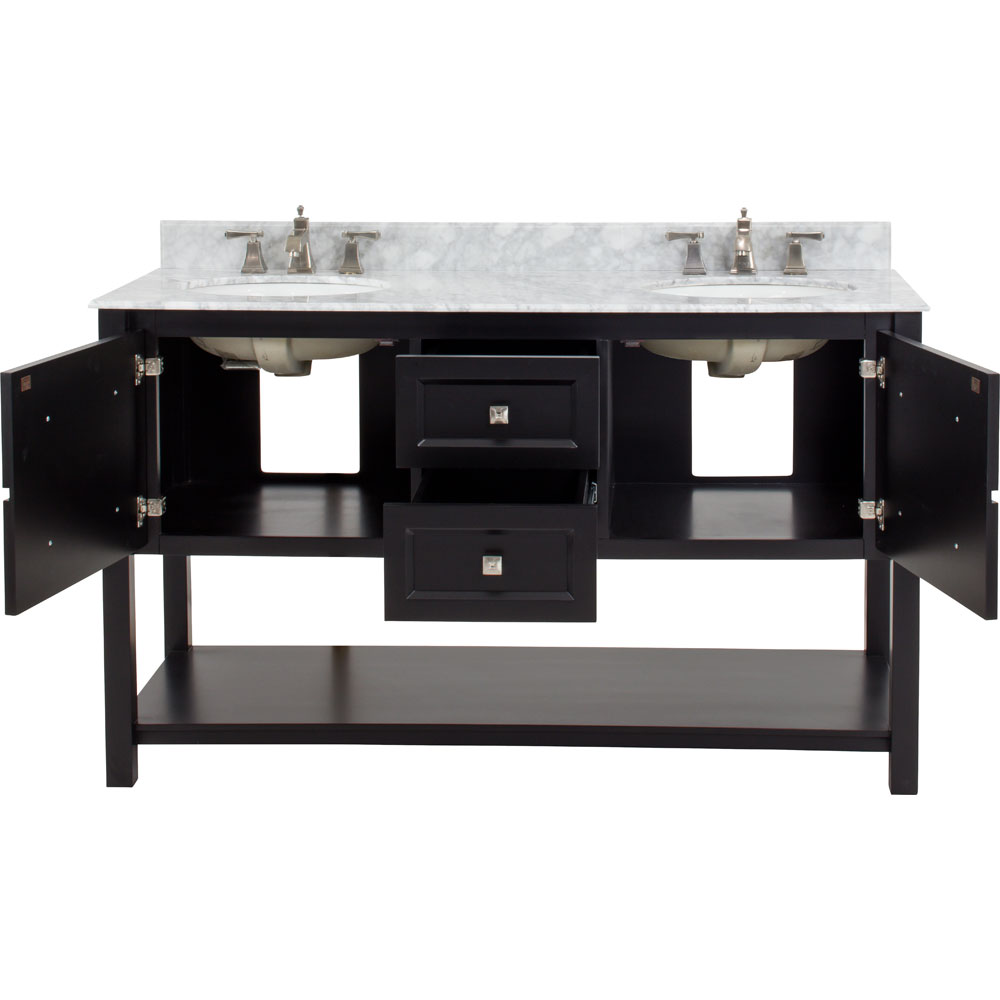 "60"" Adler double vanity in Black with Carrera Marble top"