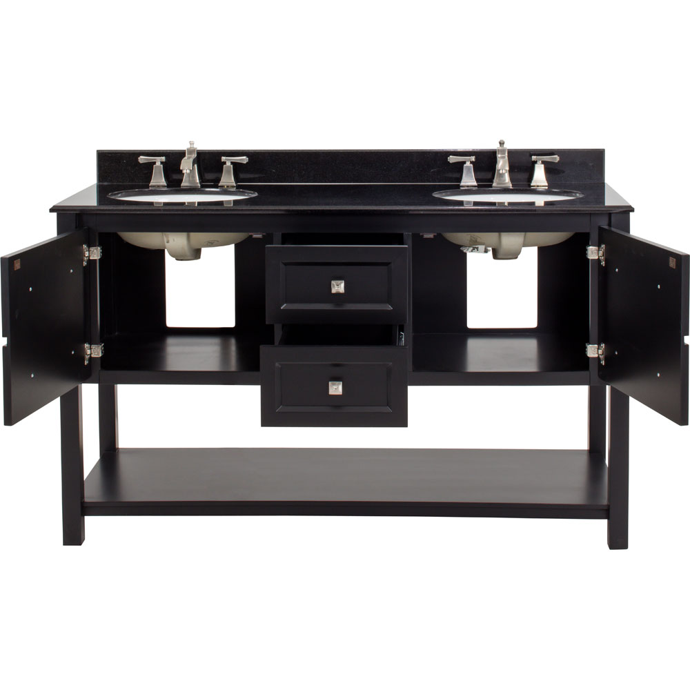 "60"" double sink Adler vanity in Black without top"