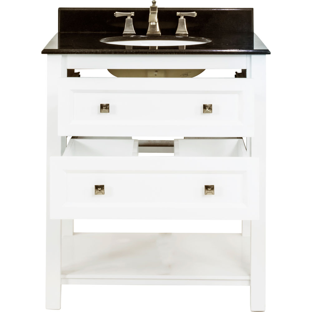 "31"" Adler vanity in White with granite top"