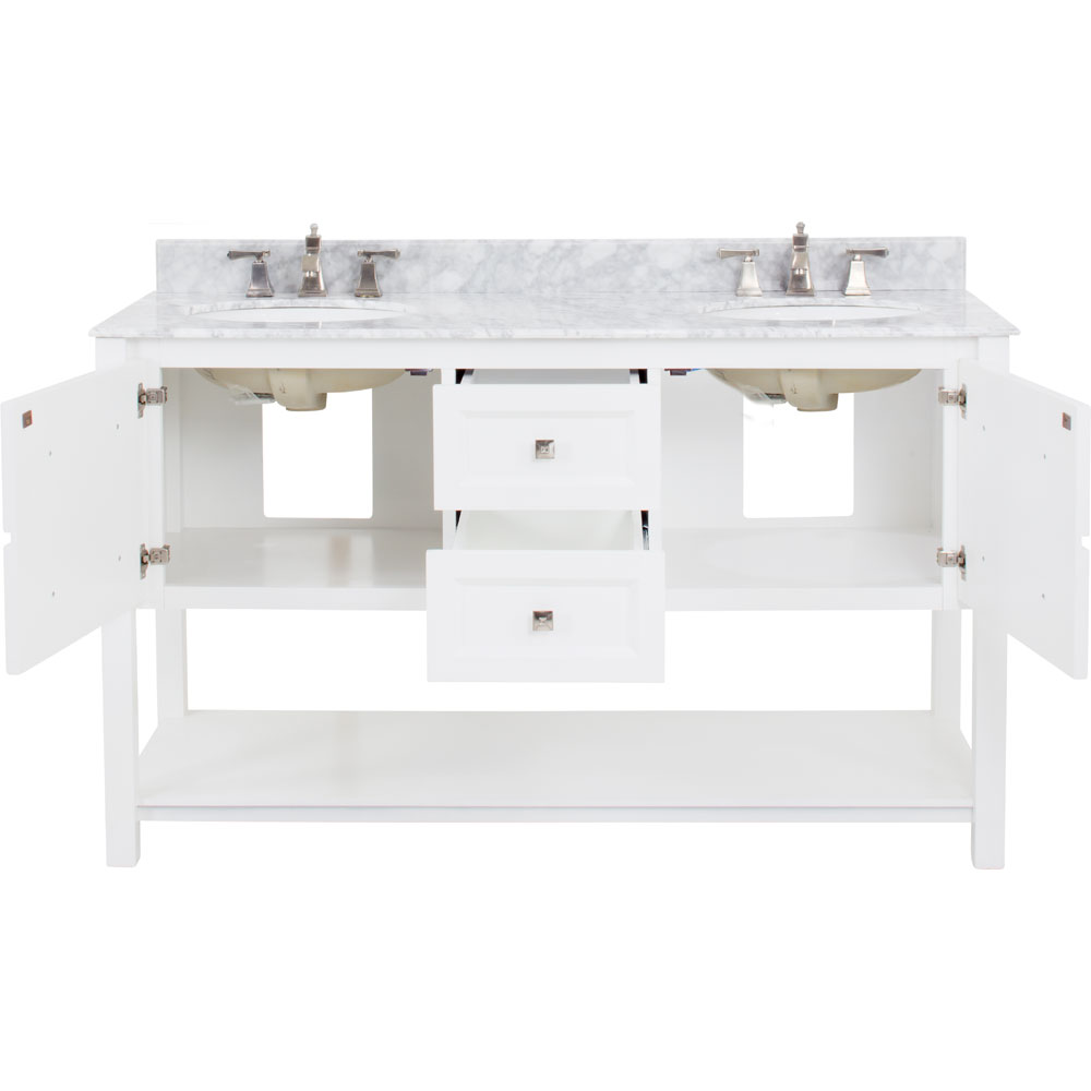"60"" Adler double vanity in White with Carrera Marble top"