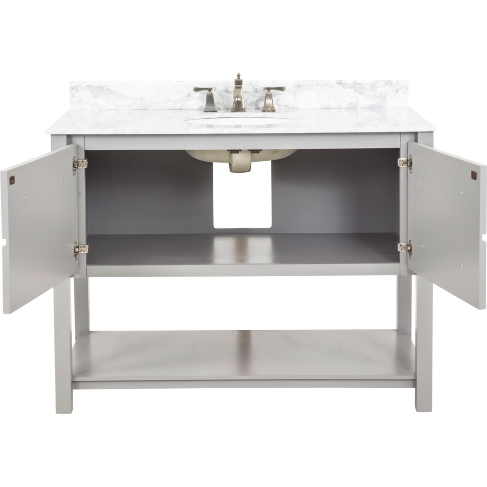 "48"" Adler vanity in Grey with Carrera marble top"
