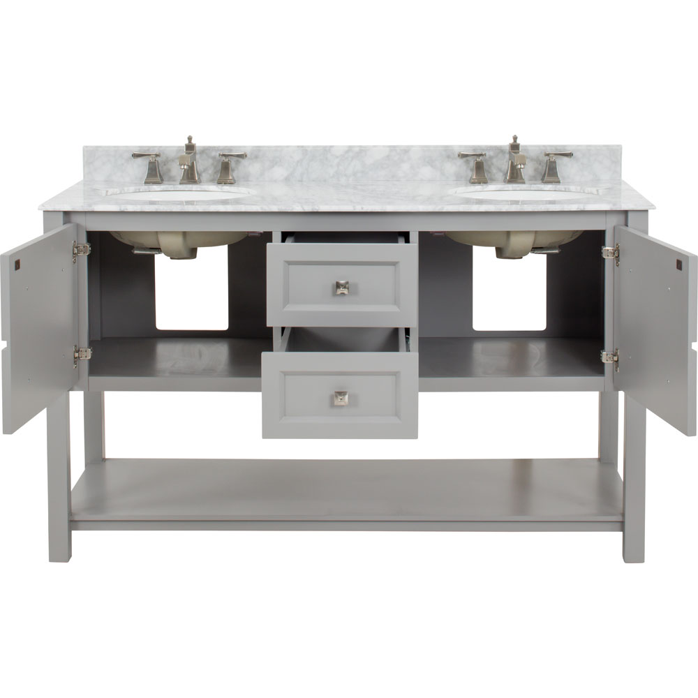"60"" Adler double vanity in Grey with Carrera marble top"