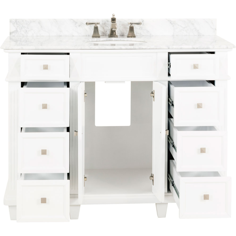 "48"" Douglas vanity in White with top"