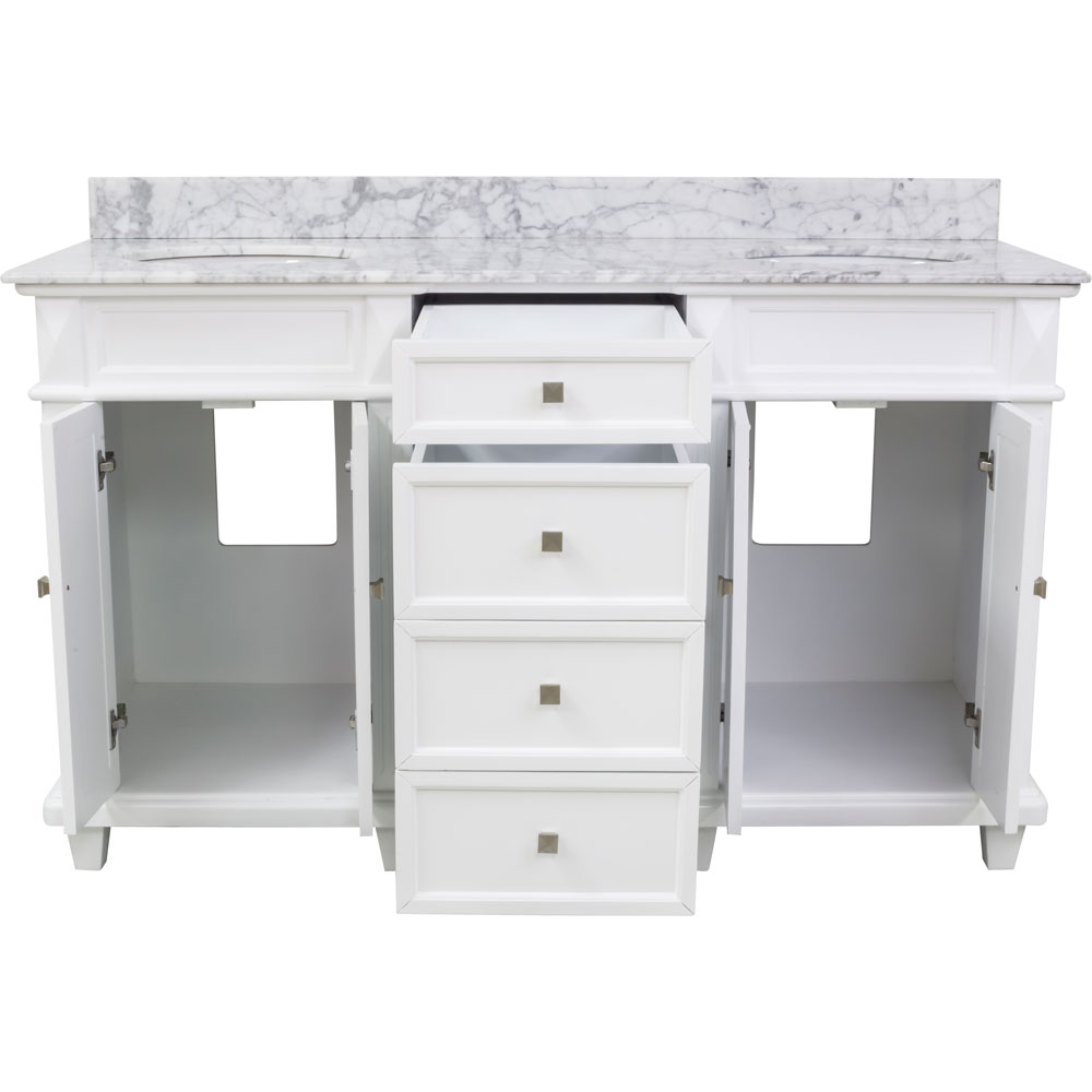 "60"" Douglas double vanity in White with top"