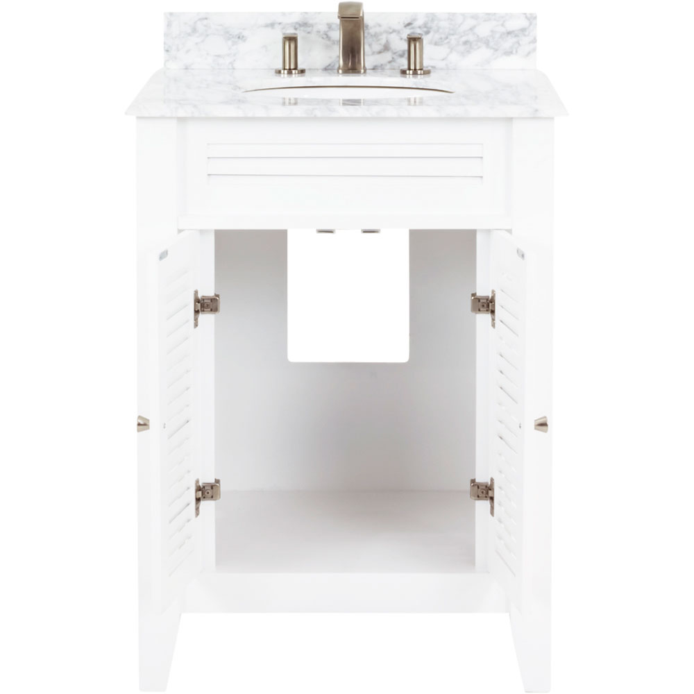 "26-1/2"" White Lindley Vanity with Carrera marble top"