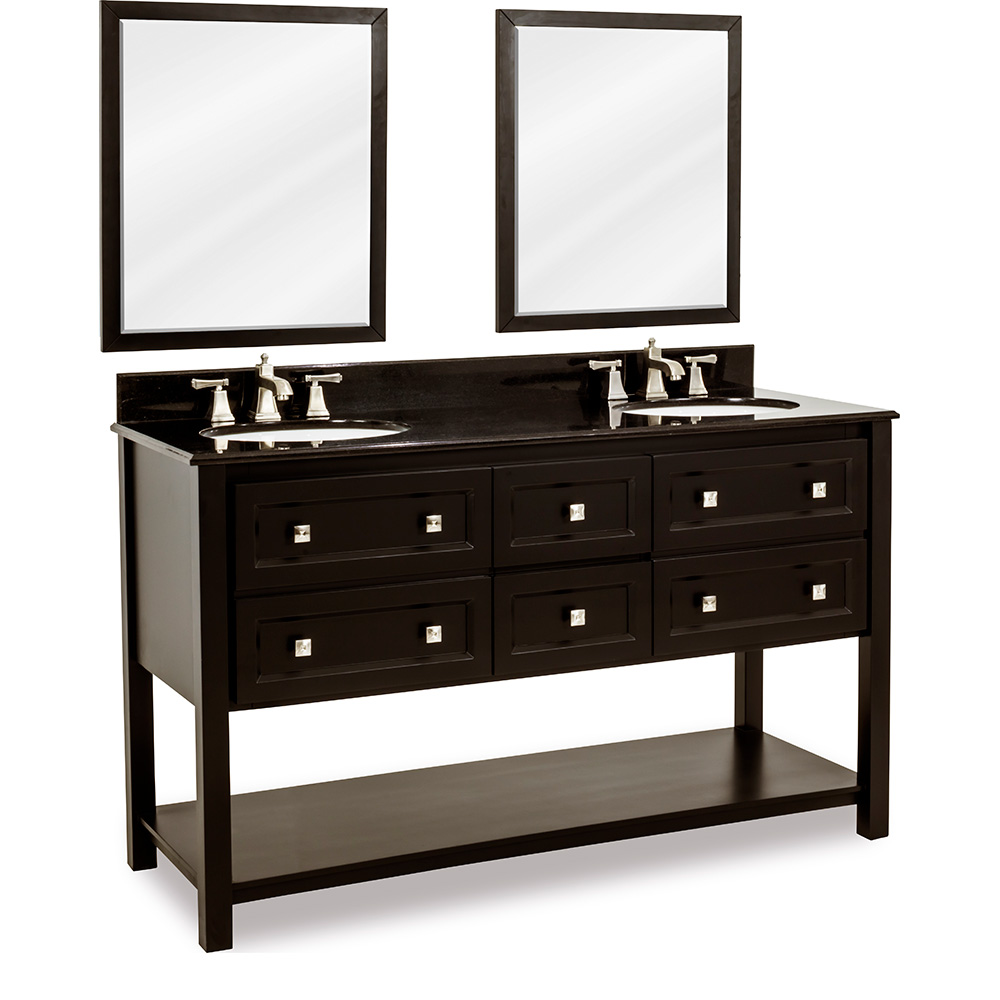 "60"" Adler double vanity in Black with Granite top"