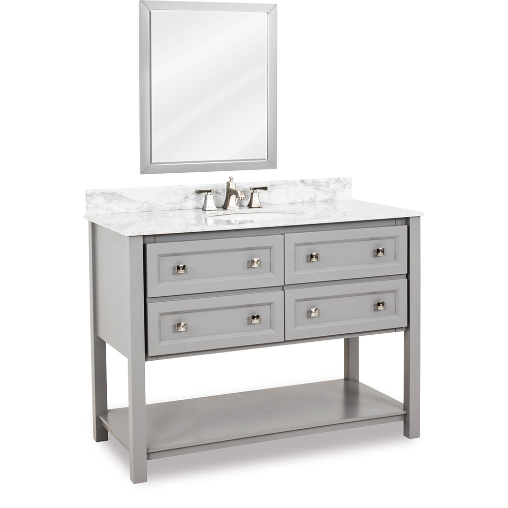 "48"" Adler vanity in Grey with Carrera Marble"