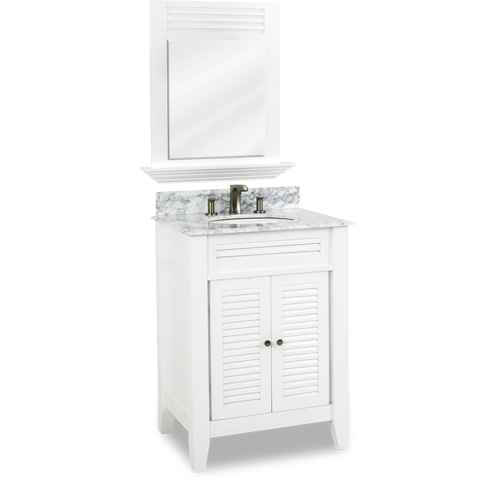 "26-1/2"" Lindley Vanity in White with Carrera Marble"