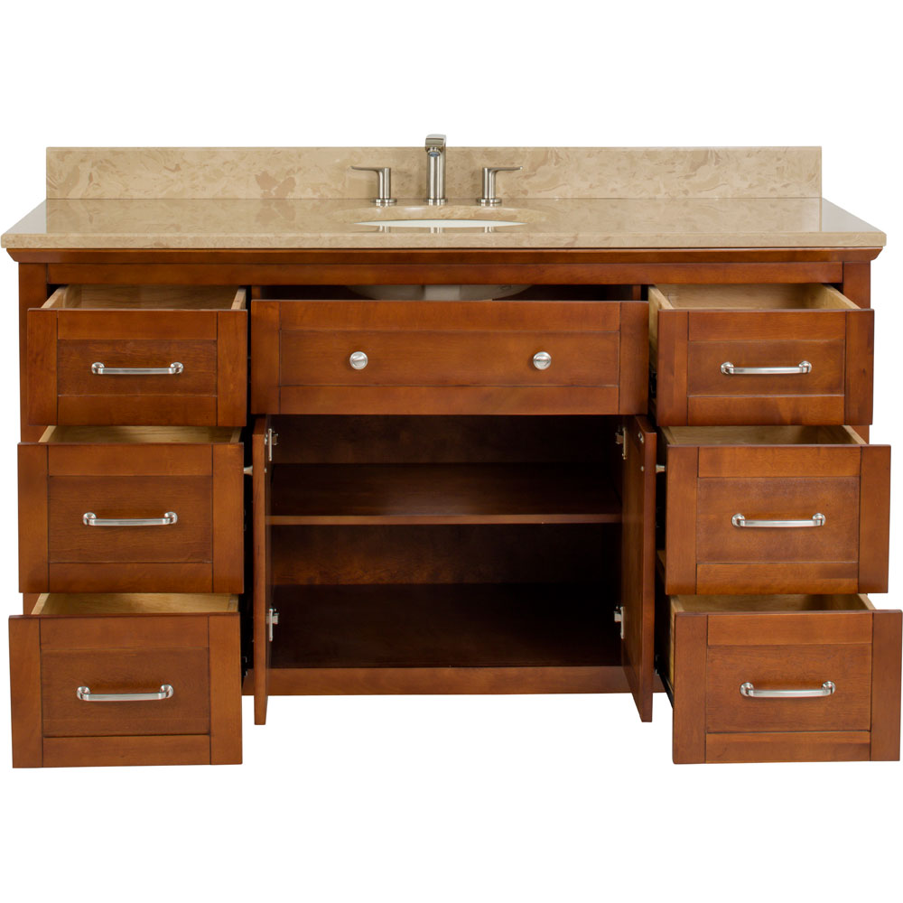 "60"" Single sink Chatham Shaker vanity in Chocolate with top"