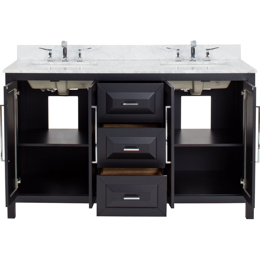 "60"" Cade Contempo vanity in Black with top"
