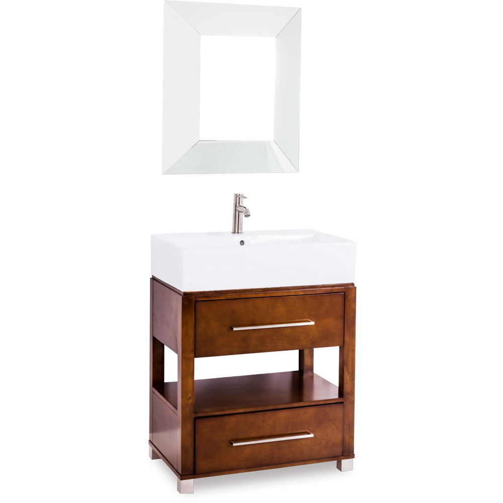 "28"" Wells Vessel Vanity in Chocolate"
