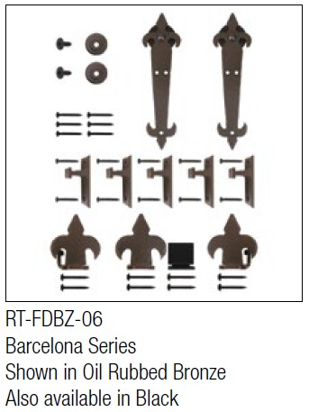 Barcelona Oil Rubbed Bronze kit for round track hanging door - face mount