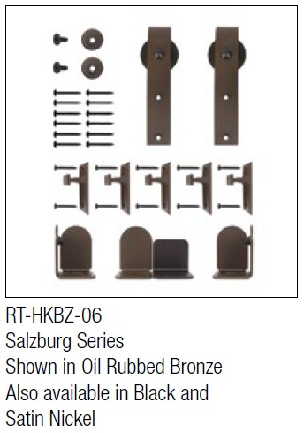 Salzburg Oil Rubbed Bronze kit for round track hanging door - face mount
