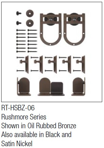 Rushmore Oil Rubbed Bronze kit for round track hanging door - face mount